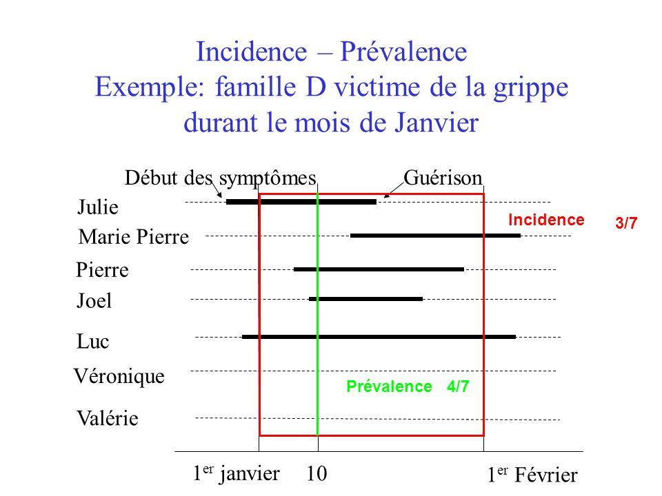 Incidence – Prévalence Exemple: famille D victime de la grippe durant le mois de Janvier 1 er janvier 1 er Février Julie Marie Pierre Pierre Joel Luc