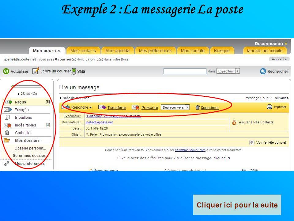 Exemple 1 :La messagerie SFR Cliquer ici pour la suite