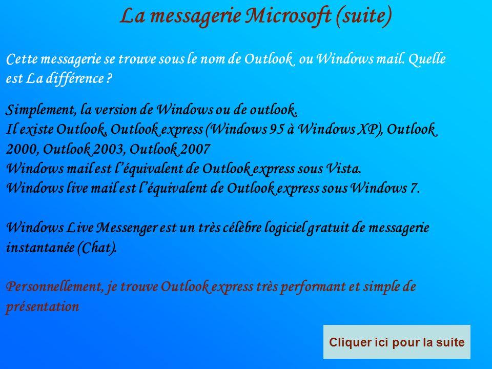 La messagerie Microsoft Microsoft offre une messagerie très intéressante car elle permet : - De regrouper les messages arrivant de plusieurs messageri
