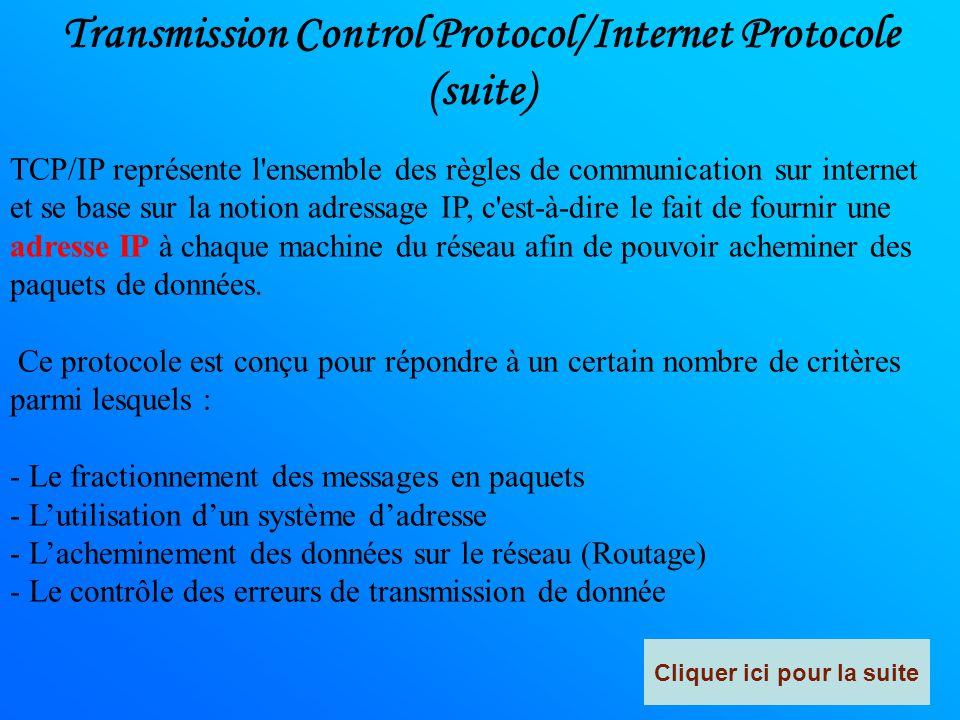 Transmission Control Protocol/Internet Protocole Transmission Control Protocol (littéralement, « protocole de contrôle de transmissions ») Abrégé : TC