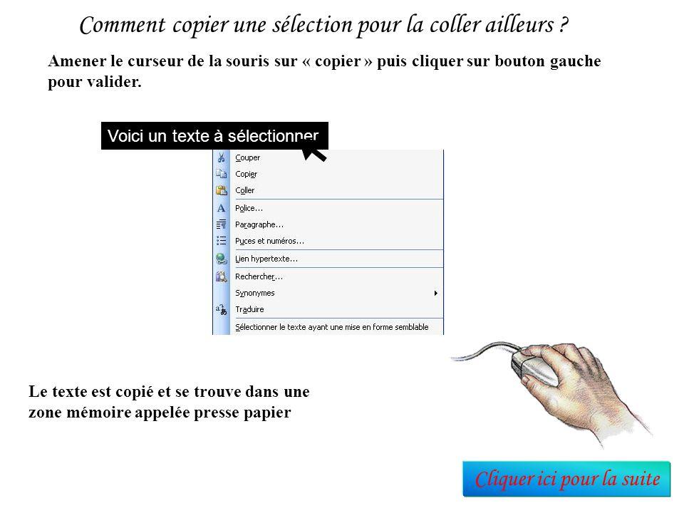 A partir du moment ou le texte est sélectionné, plusieurs actions peuvent être faites à partir d'un menu contextuel ouvert par un clic du bouton droit