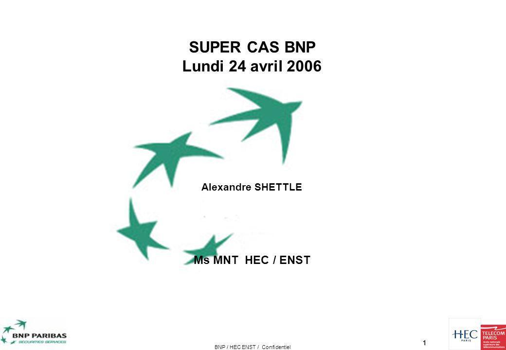 1 Présentation ActionsPlanningBusiness PlanProblématique/Objectif Analyse prelim BNP / HEC ENST / Confidentiel SUPER CAS BNP Lundi 24 avril 2006 Alexa