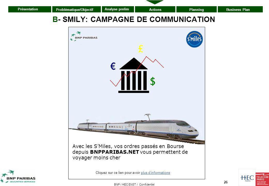 26 Présentation ActionsPlanningBusiness PlanProblématique/Objectif Analyse prelim BNP / HEC ENST / Confidentiel B- SMILY: CAMPAGNE DE COMMUNICATION Cl