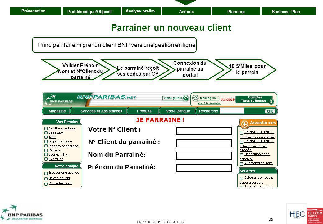 39 Présentation ActionsPlanningBusiness PlanProblématique/Objectif Analyse prelim BNP / HEC ENST / Confidentiel Valider Prénom Nom et N°Client du parr