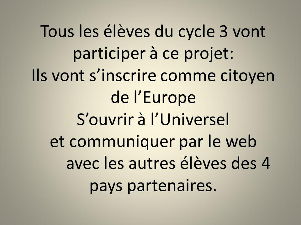 Tous les élèves du cycle 3 vont participer à ce projet: Ils vont s'inscrire comme citoyen de l'Europe S'ouvrir à l'Universel et communiquer par le web