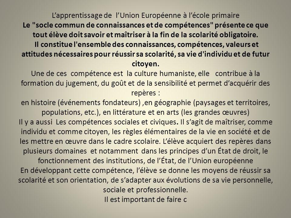 L'apprentissage de l'Union Européenne à l'école primaire Le