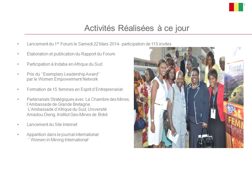 Activités Réalisées à ce jour 7 Lancement du 1 er Forum le Samedi 22 Mars 2014- participation de 115 invites Elaboration et publication du Rapport du