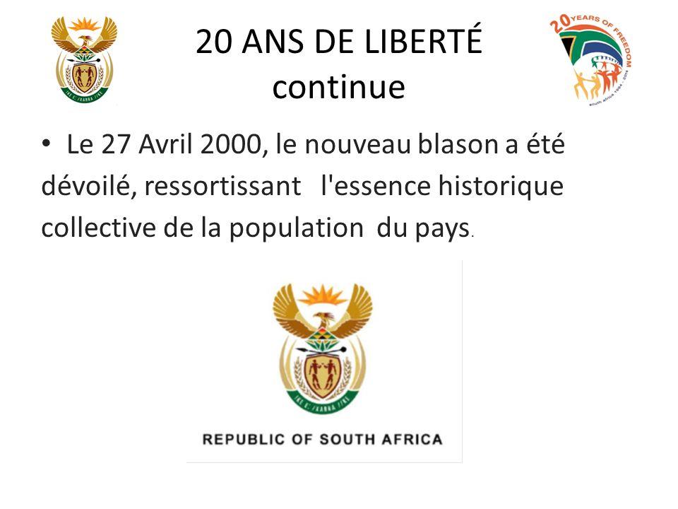 20 ANS DE LIBERTÉ continue Le 27 Avril 2000, le nouveau blason a été dévoilé, ressortissant l'essence historique collective de la population du pays.