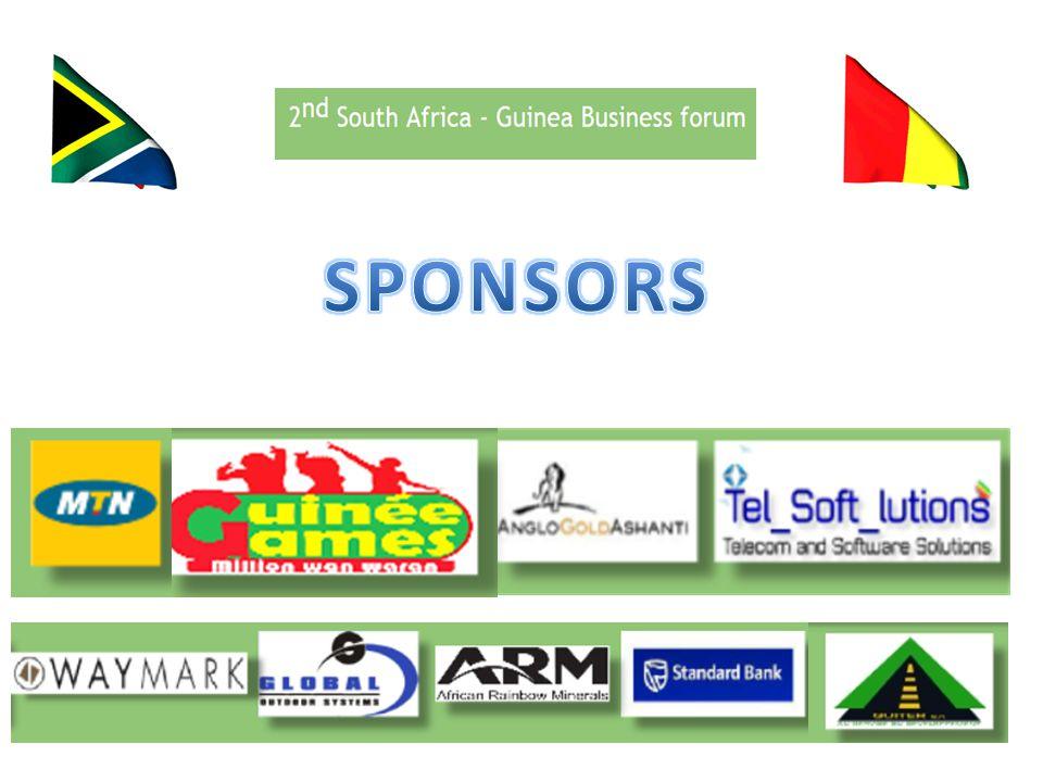 LES RESULTATS 2013 Forum Economique 2013 ENTREPRISES GUINEENNES AYANT EFFECTUER DES VISITES DE TRAVAIL EN AFRIQUE DU SUD KEBO GROUP (JUIN 2013 AOÛT 2013) GUINEAN NATIONAL CONTRACTORS (août 2013) GUITER (mars 2013) BCRG (EN PARTENARIAT AVEC LA STANDARD BANK RELATION etc) LA PRESENCE SUD AFRICAINE SE RENFORCE EN GUINEE NAKIRI NTONGA GROUPE AFRICA DE LOTERIE LE FORUM DEVIENT UN EVENEMENT ANNUEL