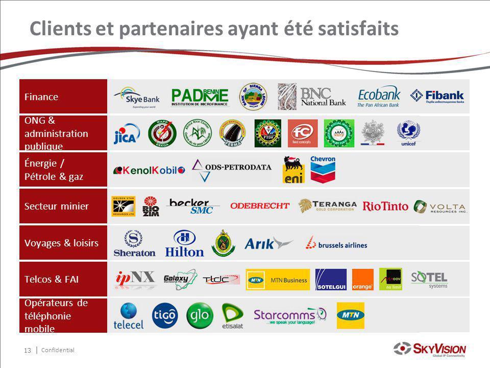 Confidential Clients et partenaires ayant été satisfaits Finance ONG & administration publique Énergie / Pétrole & gaz Secteur minier Voyages & loisir