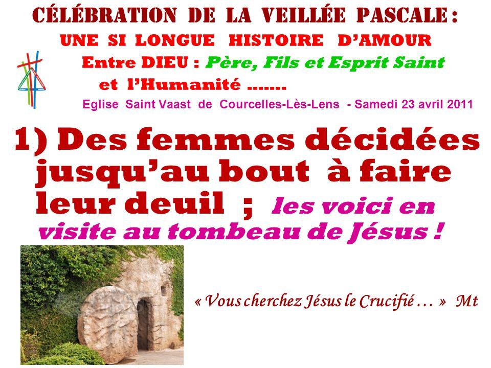 1) Des femmes décidées jusqu'au bout à faire leur deuil ; les voici en visite au tombeau de Jésus ! « Vous cherchez Jésus le Crucifié … » Mt 28 Célébr