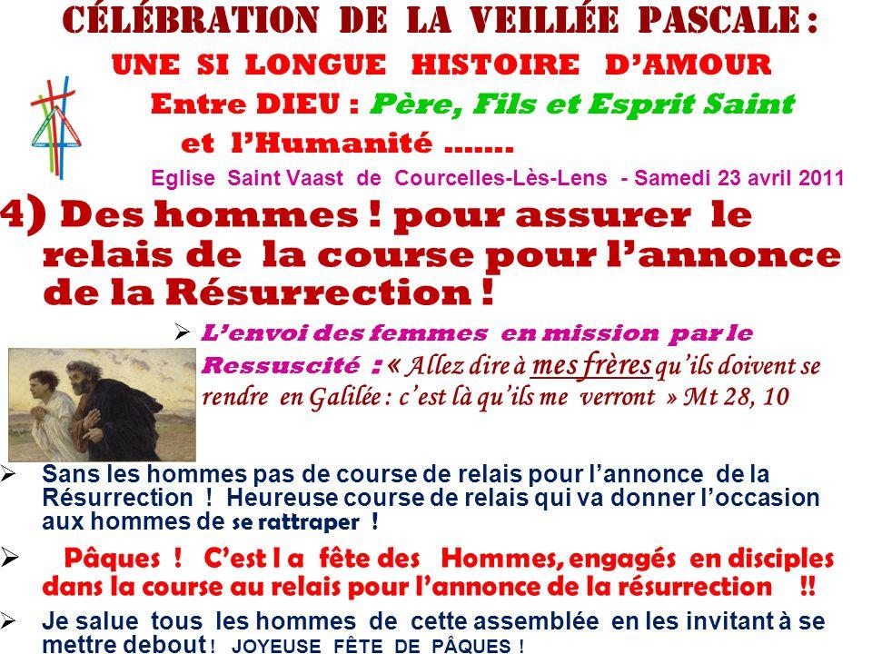 4 ) Des hommes ! pour assurer le relais de la course pour l'annonce de la Résurrection !  L'envoi des femmes en mission par le Ressuscité : « Allez d