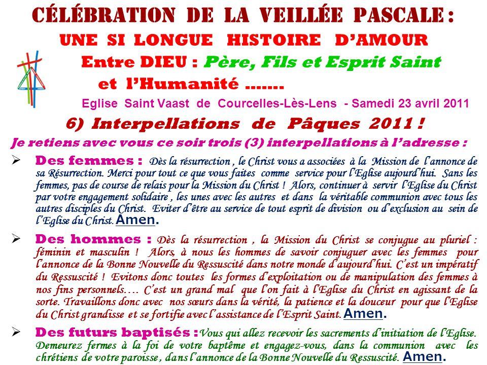 6) Interpellations de Pâques 2011 ! Je retiens avec vous ce soir trois (3) interpellations à l'adresse :  Des femmes : Dès la résurrection, le Christ