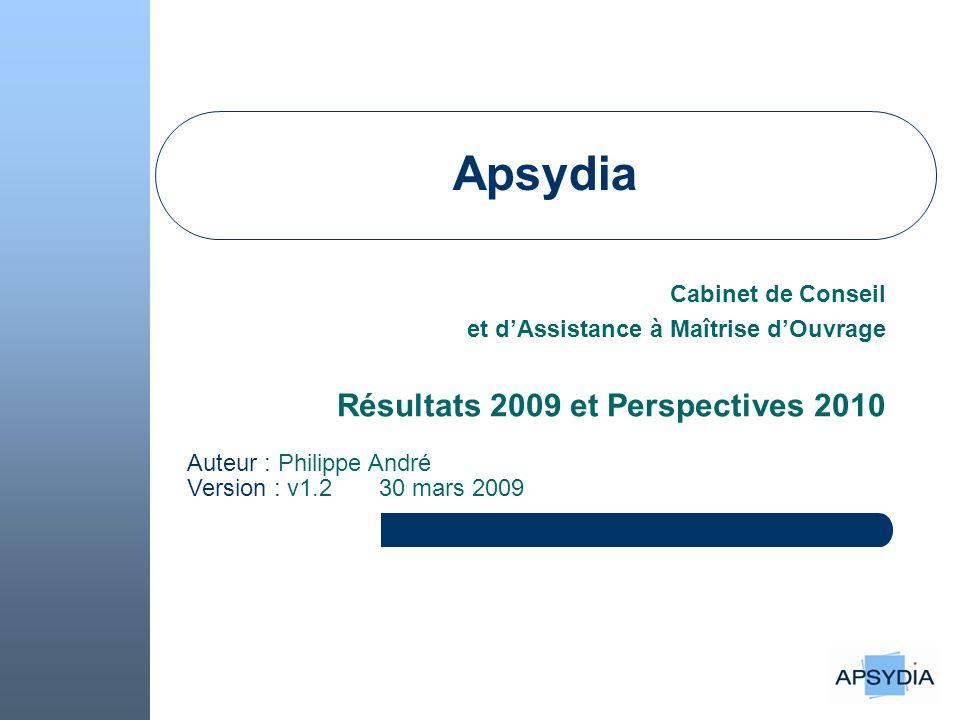 Apsydia Cabinet de Conseil et d'Assistance à Maîtrise d'Ouvrage Résultats 2009 et Perspectives 2010 Auteur : Philippe André Version : v1.2 30 mars 2009