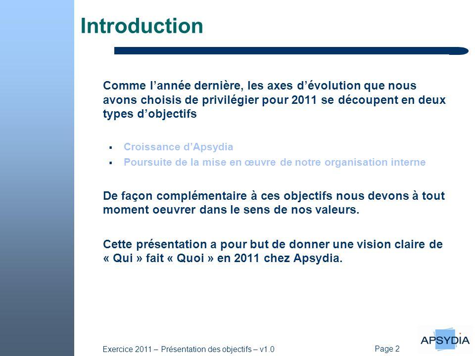Page 2 Exercice 2011 – Présentation des objectifs – v1.0 Introduction Comme l'année dernière, les axes d'évolution que nous avons choisis de privilégi