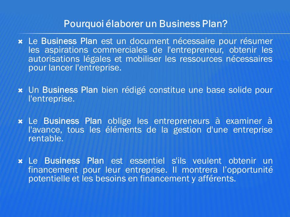 Pourquoi élaborer un Business Plan?  Le Business Plan est un document nécessaire pour résumer les aspirations commerciales de l'entrepreneur, obtenir