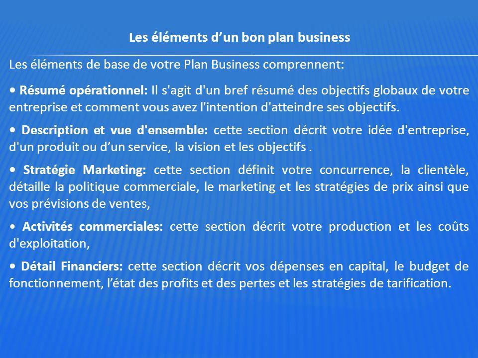 Les éléments d'un bon plan business Les éléments de base de votre Plan Business comprennent: Résumé opérationnel: Il s'agit d'un bref résumé des objec