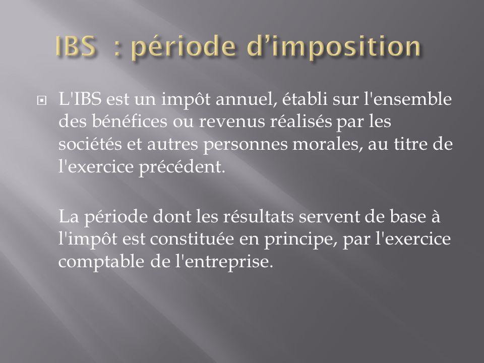  L'IBS est un impôt annuel, établi sur l'ensemble des bénéfices ou revenus réalisés par les sociétés et autres personnes morales, au titre de l'exerc
