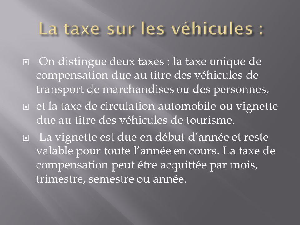  On distingue deux taxes : la taxe unique de compensation due au titre des véhicules de transport de marchandises ou des personnes,  et la taxe de c