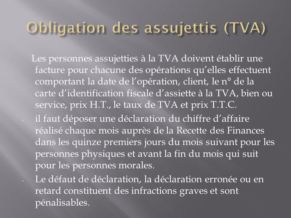 Les personnes assujetties à la TVA doivent établir une facture pour chacune des opérations qu'elles effectuent comportant la date de l'opération, clie