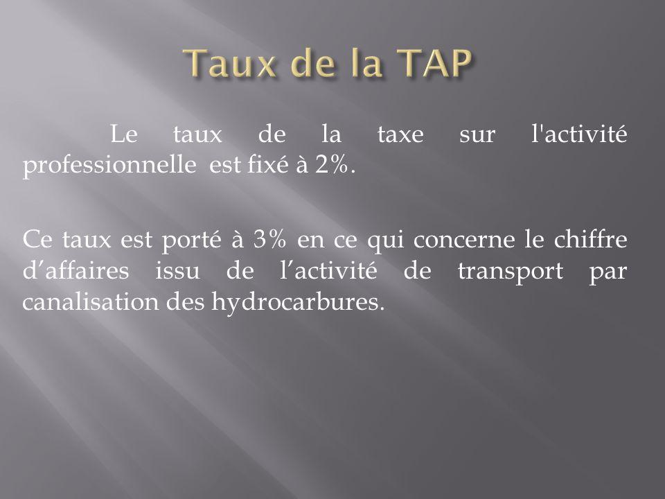 Le taux de la taxe sur l'activité professionnelle est fixé à 2%. Ce taux est porté à 3% en ce qui concerne le chiffre d'affaires issu de l'activité de