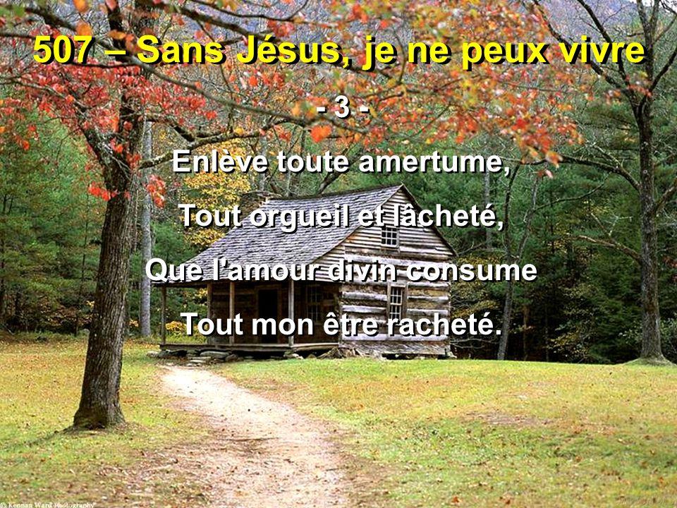 507 – Sans Jésus, je ne peux vivre - 3 - Enlève toute amertume, Tout orgueil et lâcheté, Que l'amour divin consume Tout mon être racheté. - 3 - Enlève
