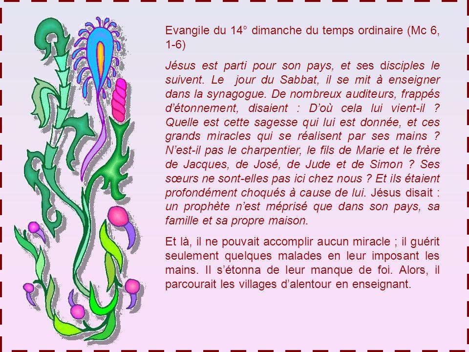 Evangile du 14° dimanche du temps ordinaire (Mc 6, 1-6) Jésus est parti pour son pays, et ses disciples le suivent.