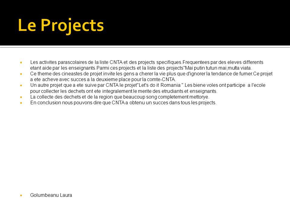  Les activites parascolaires de la liste CNTA et des projects specifiques.Frequentees par des eleves differents etant aide par les enseignants.Parmi ces projects et la liste des projects Mai putin tutun mai,multa viata.