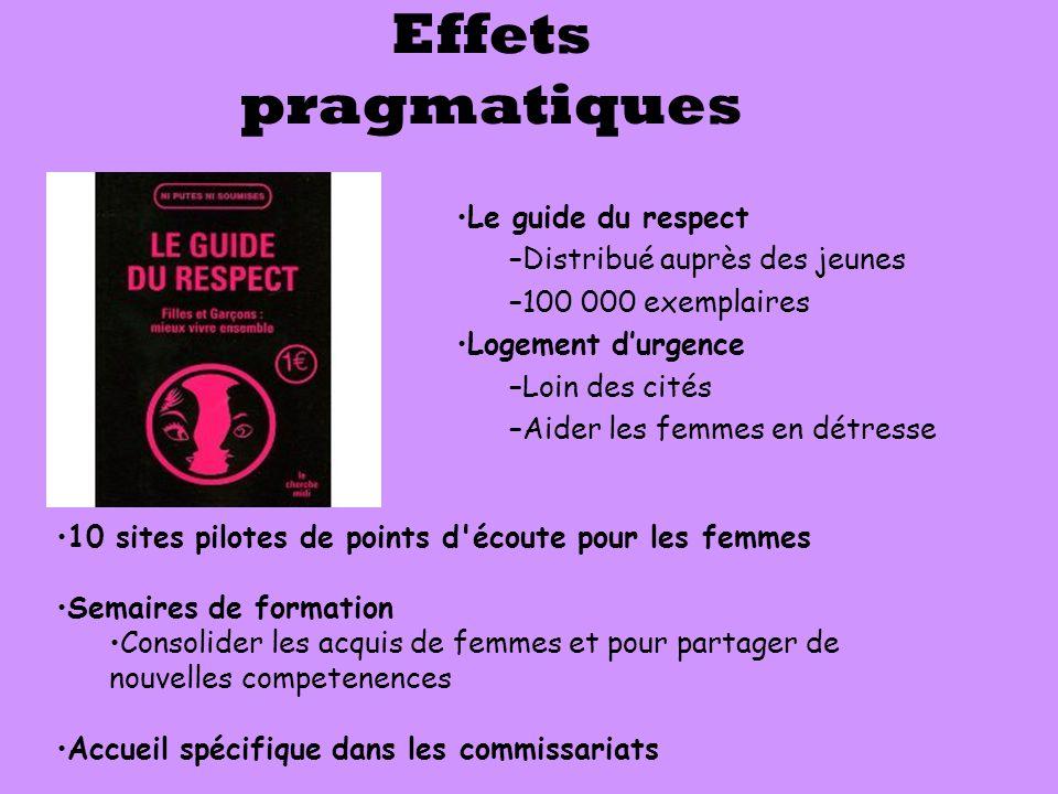 Le guide du respect –Distribué auprès des jeunes –100 000 exemplaires Logement d'urgence –Loin des cités –Aider les femmes en détresse Effets pragmati