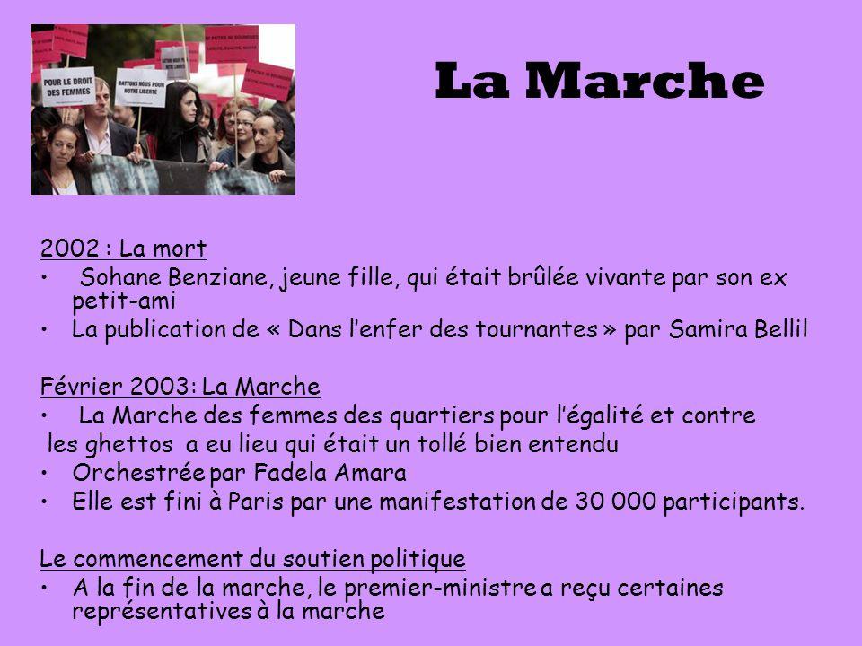 La Marche 2002 : La mort Sohane Benziane, jeune fille, qui était brûlée vivante par son ex petit-ami La publication de « Dans l'enfer des tournantes »