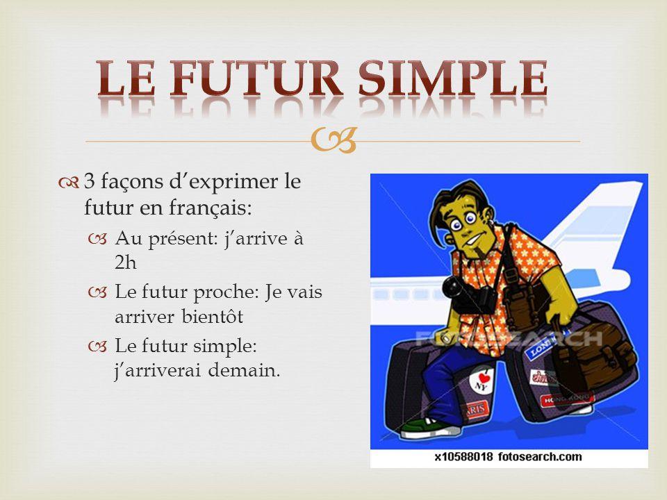   3 façons d'exprimer le futur en français:  Au présent: j'arrive à 2h  Le futur proche: Je vais arriver bientôt  Le futur simple: j'arriverai demain.