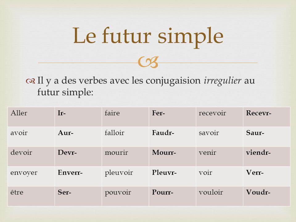   Il y a des verbes avec les conjugaision irregulier au futur simple: Le futur simple Aller Ir- faire Fer- recevoir Recevr- avoir Aur- falloir Faudr- savoir Saur- devoir Devr- mourir Mourr- venir viendr- envoyer Enverr- pleuvoir Pleuvr- voir Verr- être Ser- pouvoir Pourr- vouloir Voudr-