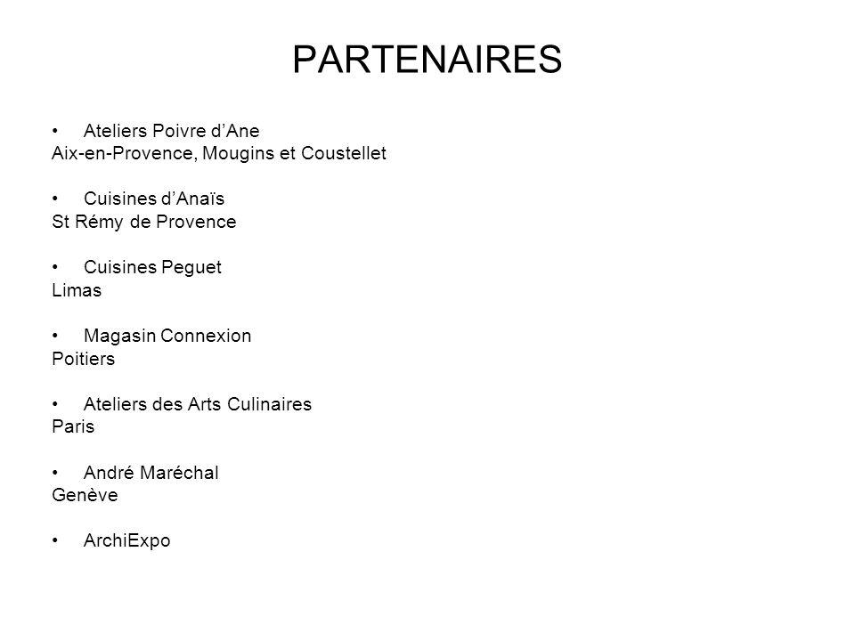 PARTENAIRES Ateliers Poivre d'Ane Aix-en-Provence, Mougins et Coustellet Cuisines d'Anaïs St Rémy de Provence Cuisines Peguet Limas Magasin Connexion Poitiers Ateliers des Arts Culinaires Paris André Maréchal Genève ArchiExpo