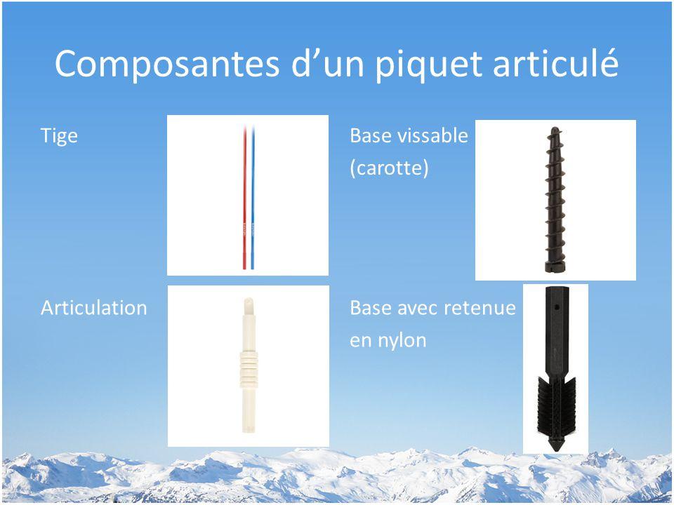 Composantes d'un piquet articulé TigeBase vissable (carotte) ArticulationBase avec retenue en nylon