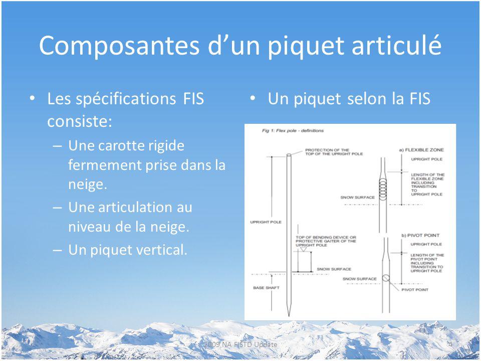 Composantes d'un piquet articulé Les spécifications FIS consiste: – Une carotte rigide fermement prise dans la neige. – Une articulation au niveau de