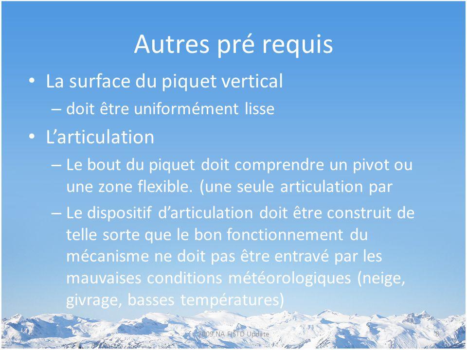 Autres pré requis La surface du piquet vertical – doit être uniformément lisse L'articulation – Le bout du piquet doit comprendre un pivot ou une zone