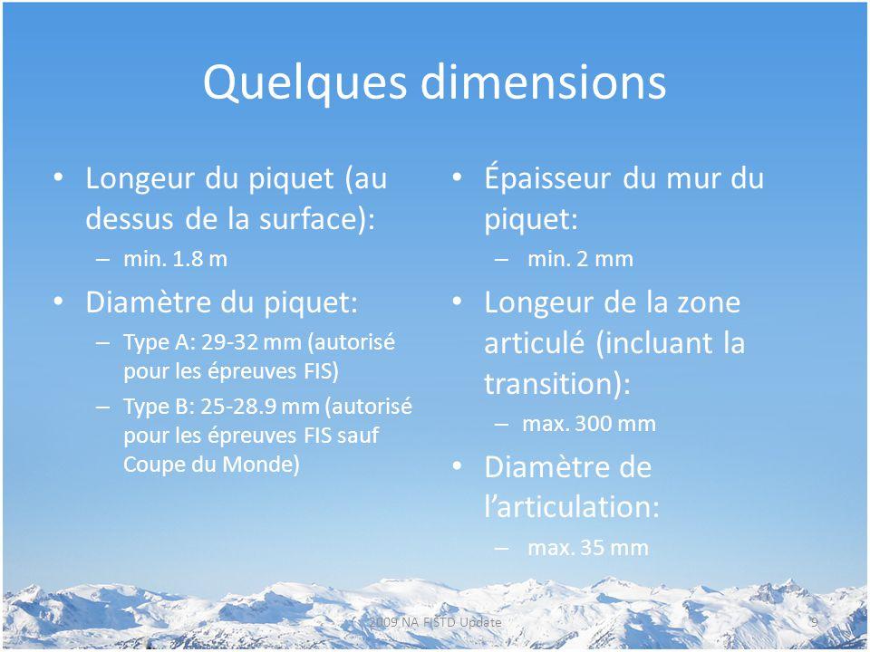 Quelques dimensions Longeur du piquet (au dessus de la surface): – min. 1.8 m Diamètre du piquet: – Type A: 29-32 mm (autorisé pour les épreuves FIS)