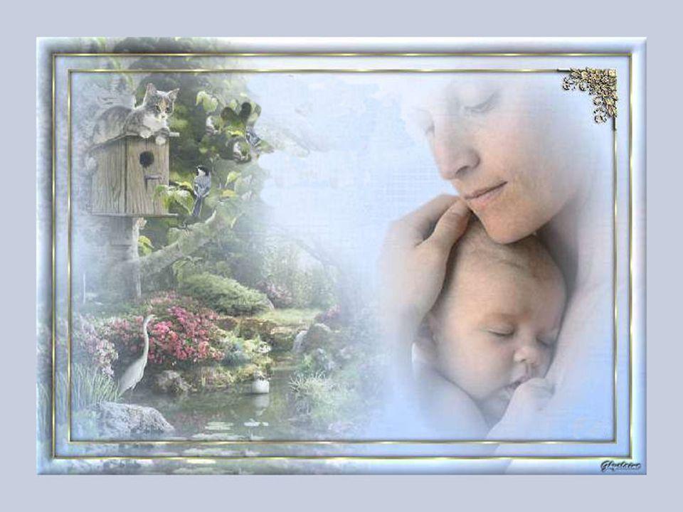 Une maman remplie de tendresse Pour ses petits n'est que caresses, Ce qu'elle est belle à regarder, Ses yeux sont remplis de bonté.