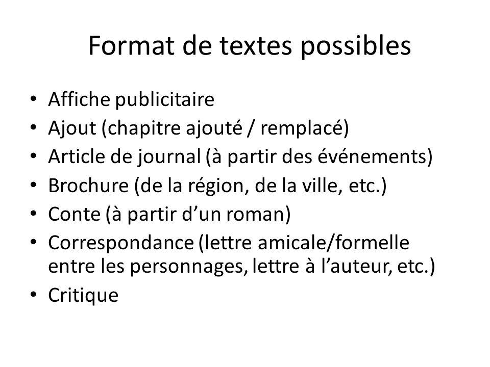 Format de textes possibles Affiche publicitaire Ajout (chapitre ajouté / remplacé) Article de journal (à partir des événements) Brochure (de la région