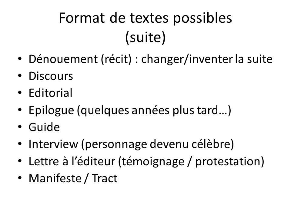 Format de textes possibles (suite) Dénouement (récit) : changer/inventer la suite Discours Editorial Epilogue (quelques années plus tard…) Guide Inter