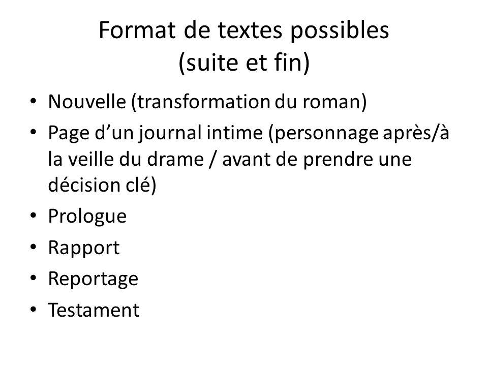 Format de textes possibles (suite et fin) Nouvelle (transformation du roman) Page d'un journal intime (personnage après/à la veille du drame / avant d