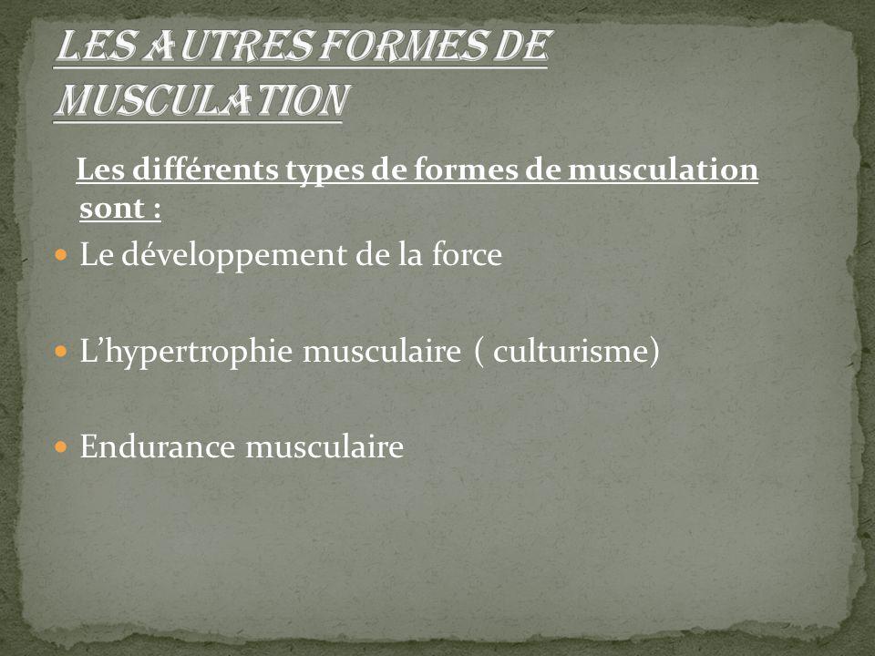 Les différents types de formes de musculation sont : Le développement de la force L'hypertrophie musculaire ( culturisme) Endurance musculaire