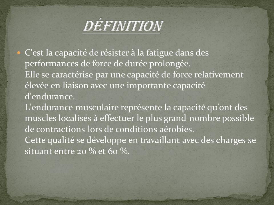 C'est la capacité de résister à la fatigue dans des performances de force de durée prolongée. Elle se caractérise par une capacité de force relativeme