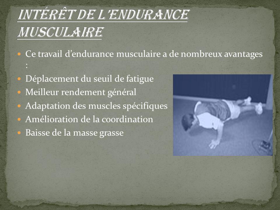 Ce travail d'endurance musculaire a de nombreux avantages : Déplacement du seuil de fatigue Meilleur rendement général Adaptation des muscles spécifiq