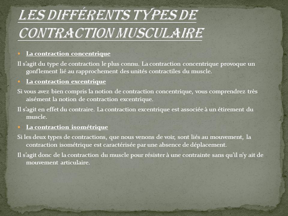 La contraction concentrique Il s'agit du type de contraction le plus connu. La contraction concentrique provoque un gonflement lié au rapprochement de
