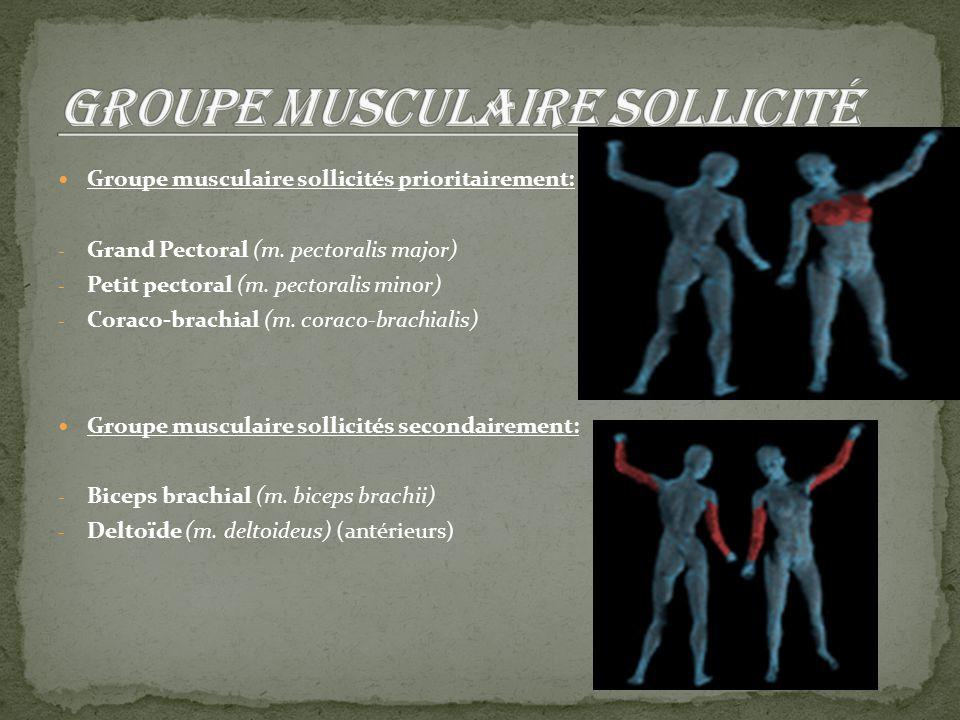 Groupe musculaire sollicités prioritairement: - Grand Pectoral (m. pectoralis major) - Petit pectoral (m. pectoralis minor) - Coraco-brachial (m. cora
