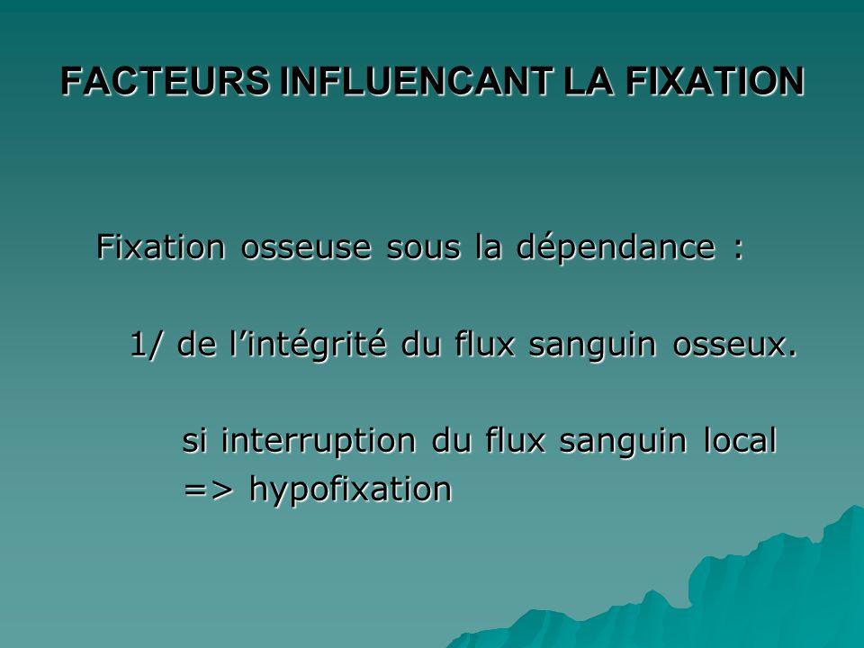 FACTEURS INFLUENCANT LA FIXATION Fixation osseuse sous le dépendance : 2/ de l'importance de l'activité ostéoblastique  fractures, métastases  zones de croissance  maladies métaboliques