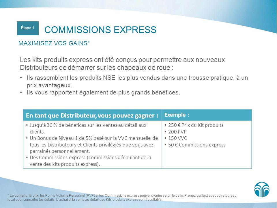 COMMISSIONS EXPRESS MAXIMISEZ VOS GAINS* Les kits produits express ont été conçus pour permettre aux nouveaux Distributeurs de démarrer sur les chapea