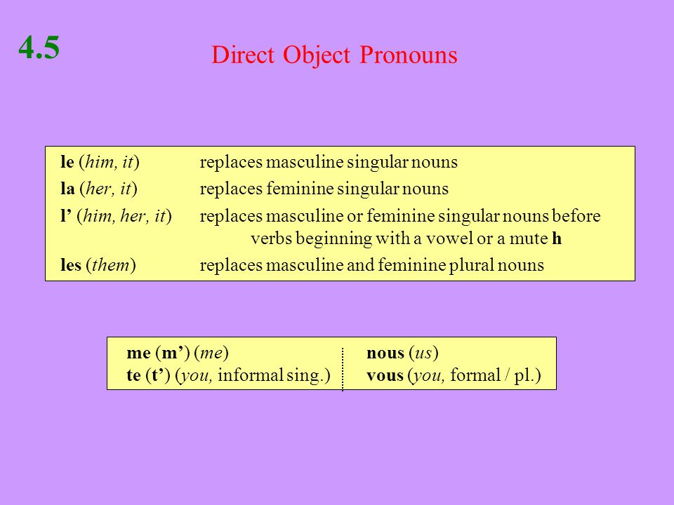 Direct Object Pronouns 4.5 le (him, it)replaces masculine singular nouns la (her, it)replaces feminine singular nouns l' (him, her, it)replaces masculine or feminine singular nouns before verbs beginning with a vowel or a mute h les (them)replaces masculine and feminine plural nouns me (m') (me)nous (us) te (t') (you, informal sing.)vous (you, formal / pl.)