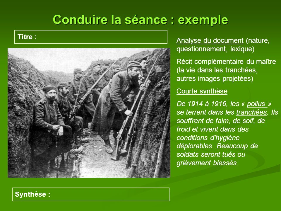 Conduire la séance : exemple Titre : Synthèse : Analyse du document (nature, questionnement, lexique) Récit complémentaire du maître (la vie dans les